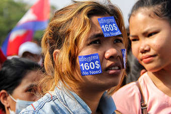 A Cambodian garment worker joins a rally demanding a monthly wage of $160 (Photo credit: LICADHO)