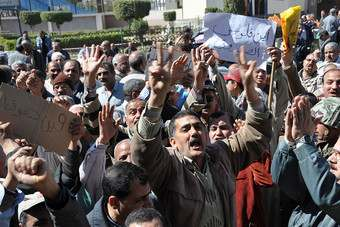 The recent strikes in Egypt. Photo credit: Helwan Plant/ITUC