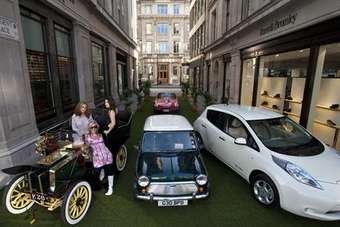 Three Centuries of pioneering motoring were presented at the launch of The Regent Street Motor Show in Regent Street, represented by a 1902 Dennis Tonneau, Nissan Leaf, Mini Cooper and Jaguar E-Type.