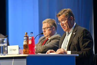 "Orkla chairman Stein Erik Hagen (r) said the board had disagreed on ""ways of working"" with former CEO Bjørn Wiggen (l)"