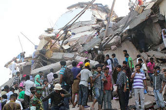The eight-storey Rana Plaza building on the outskirts of Dhaka collapsed two days ago