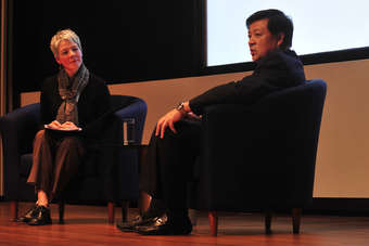 Henry Tan, CEO of Luen Thai Holdings on stage with just-style managing editor Leonie Barrie at the recent Prime Source Forum in Hong Kong
