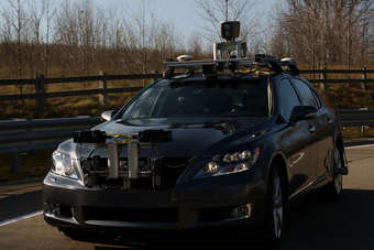 A 360-degree LIDAR laser on the roof of the vehicle detects objects around the car up to about 70 metres
