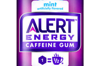 The gum contains 40mg of caffeine, equivalent to half a cup of coffee