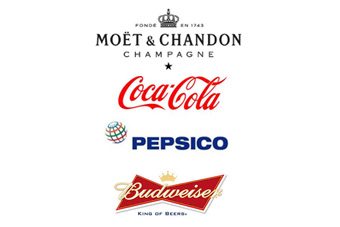 Coca-Cola, Budweiser, Moet & Chandon and Pepsi lead the line for drinks