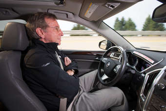 GM Staff Researcher Dr. Jeremy Salinger road tests a Cadillac semi-autonomous driving technology it calls Super Cruise that is capable of fully automatic steering, braking and lane-centering in highway driving under certain optimal conditions. Super Cruise is designed to ease the drivers workload in both bumper-to-bumper traffic and on long road trips by relying on a fusion of radar, ultrasonic sensors, cameras and GPS map data. The system could be ready by mid-decade, GM says.