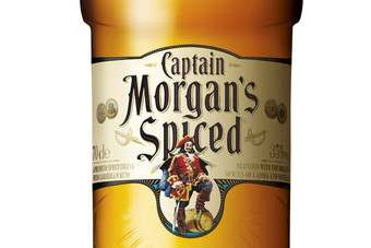 The new-look Captain Morgans Spiced label in the UK