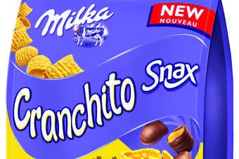 "Milka Snax Cranchito comprises ""maize nibbles"" covered in Milka milk chocolate"