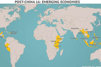 The Post-China 16 emerging economies for apparel sourcing, identified by Stratfor