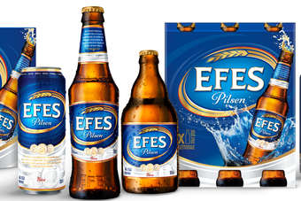 The new Efes packaging, designed to give the brand a contemporary look