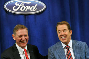 Mulally (left) with chairman Bill Ford at the annual shareholders meeting this year