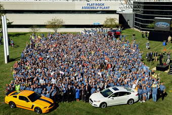 "1,500 plant workers joined Ford executives to mark Flat Rocks ""new era"" on Monday 10 September, 2012"