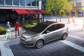 Ford claims that the C-MAX hybrid beats the Toyota Prius v on price and fuel efficiency