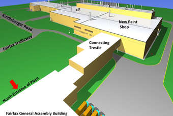 GM diagram showing new paint shop planned for Fairfax plant