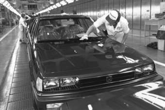 An early US-made Accord nears completion at Marysville c.1982. Would the planners of that first transplant have foreseen eight North American plants with 1.92m-unit capacity 32 years later?