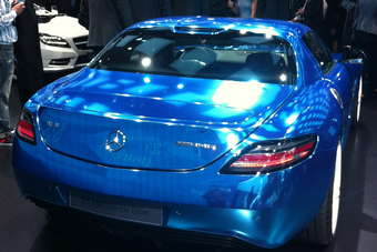 Great colour on this Mercedes SLS Electric Drive, not sure about the white wheels, though