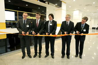 From left to right: Eugen Dogariu, prefect of Timis County, Prof. Dr. Christian von Albrichsfeld, general manager Continental Automotive Romania, Nicolae Robu, mayor of Timisoara, Helmut Matschi, member of the Continental Executive Board, Klaus Christian Olasz, German consul in Timisoara.