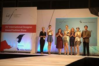 just-style editor Leonie Barrie (far left) with the winning entries in the IAF International Design Award: Greece (second from left), India (centre) and Taiwan (second from right)