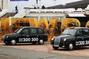 LTi London taxis in Prishtina, Kosovo