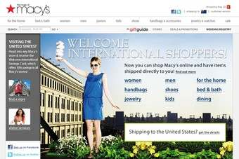 Macys is to start shipping to 91 countries outside the US.