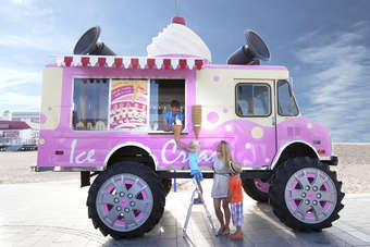 Skoda has developed a  giant ice cream van, which will be touring the UK. The 21 foot tall ice cream - fitted with 5 foot Monster Truck wheels - will serve up 6,500 ice creams.