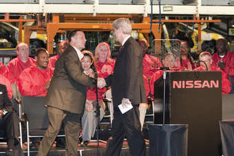 Dan Bednarzyk, vice president of Nissan manufacturing in Canton and Mississippi governor Phil Bryant celebrate the plants 10th anniversary and announce planned production of the redesigned Murano