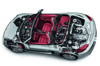 Aluminium is used for the bonnet, bootlid and doors, and high strength steel for the basic structure