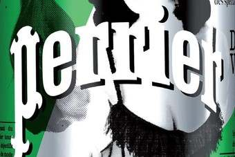 Burlesque model appears on Perrier cans