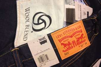 The jeans feature 12% Australian Merino wool and 88% fine grade cotton
