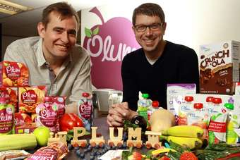 Pictured (left to right) Scott Wotherspoon, CEO of Plum UK with Neil Grimmer, co-founder and CEO of Plum Organics