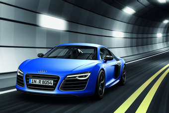 The new R8 V10 plus has a claimed top speed of 197mph, with 0-100km/h dispatched in 3.5 seconds