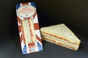 Tesco launched a strawberries and cream sandwich today