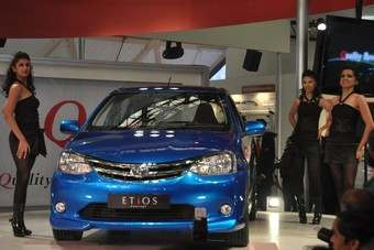 Etios hatch was shown as a concept at Delhi earlier this year. Note single screen wiper