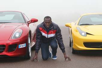 Usain Bolt versus Ferrari on the Fiorano track