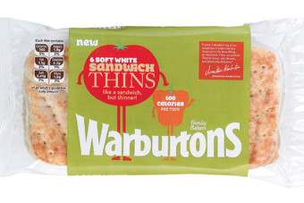 Warburtons Sandwich Thins each contain 100 calories and are looking to appeal to health conscious consumers