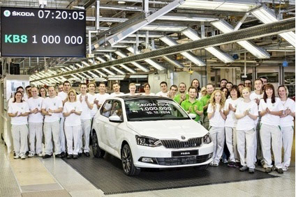 A new Fabia at Mladá Boleslav: this was the one millionth car built by Škoda in 2014: a new record