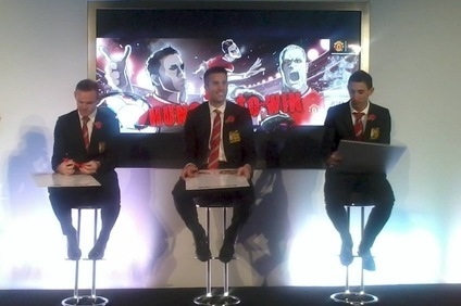 Rooney (l), van Persie (centre) and di Maria (r) are central to Nissin ad push