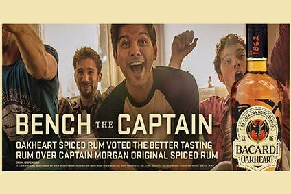 The latest ad from Bacardi positions Oakheart Spiced Rum directly against Diageo's Captain Morgan Original Spiced Rum