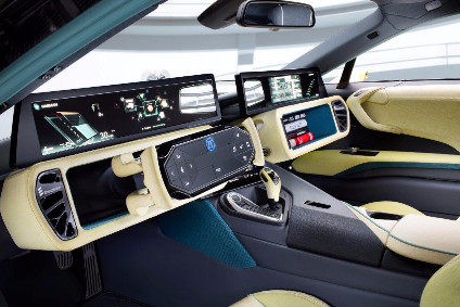 ZF TRW's retractable steering wheel featured in Rinspeed's Etos autonomous driving concept.