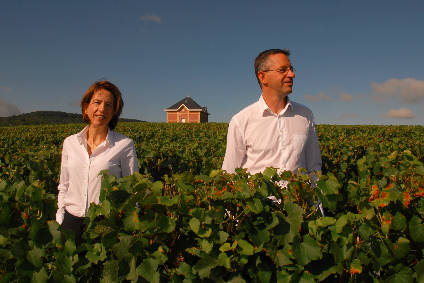 Champagne AR Lenoble owners Anne and Antoine Malassagne in their vineyards in Chouilly