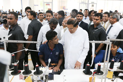 Sri Lanka president HE Maithripala Sirisena at the opening of the Hirdaramani Groups new apparel factory in Mullaitivu
