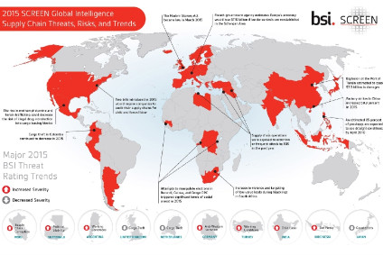 The BSI threat rating trends marked in red indicate areas of increased risk severity