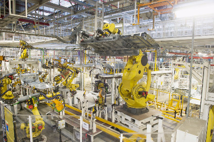 Robots at work in Sevelnords body in white plant. Suppliers Plastic Omnium and Yazaki also lease space in the facility