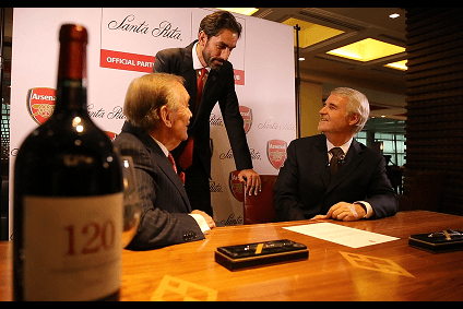From left to right: executive director of Arsenal Ken Friar, former Arsenal player Robert Pires and vice executive director of Santa Rita, Baltazar Sanchez