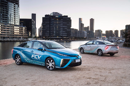 FCVs, like Toyotas production Mirai (pictured here on demonstration in Australia), can be driven without emitting CO2 so have high potential as a form of the ultimate eco-car, Toyota says