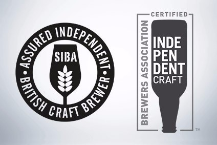 On the left, the seal from the UK's Society of Independent Brewers, on the right seal from the Brewers Association in the US