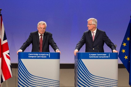 "Michel Barnier (r) has warned the UK - and Brexit Secretary David Davis (l) - ""the clock is ticking"" on negotiations"