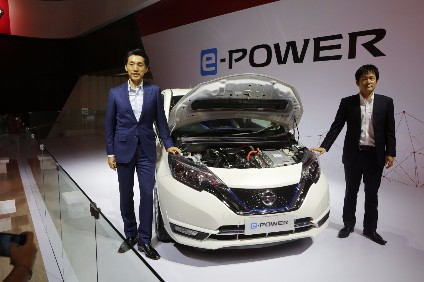 Note e-Power uses electric motor to turn the wheels, petrol engine to charge the battery