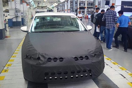 End-of-line preview car shown to media had nose and tail restyled for Brazil concealed ahead of the launch