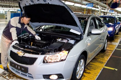 A GM Korea assembly plant completes a Chevrolet Cruze in this file photo